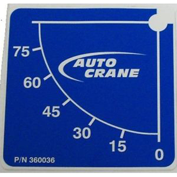 Auto Crane 360036 Boom Angle Decal, Passenger Side - Various Models