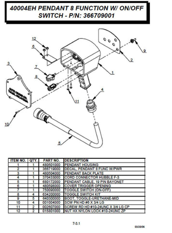 Auto Crane 366709001 Pendant, 8 function with on/off switch , 19 Pin Plug Bayonet