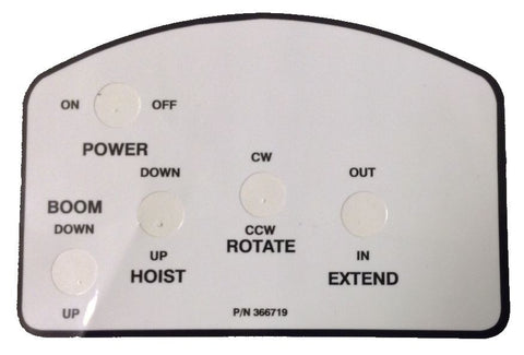 Auto Crane 366719000 DECAL PENDANT 8 FUNCTION W/ON OFF SWITCH