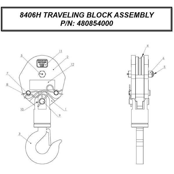Auto Crane 480854000 Traveling Block Assembly for 8486H