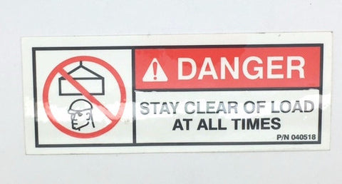 "Auto Crane 40518000 DECAL, DANGER ""STAY CLEAR OF LOAD"""