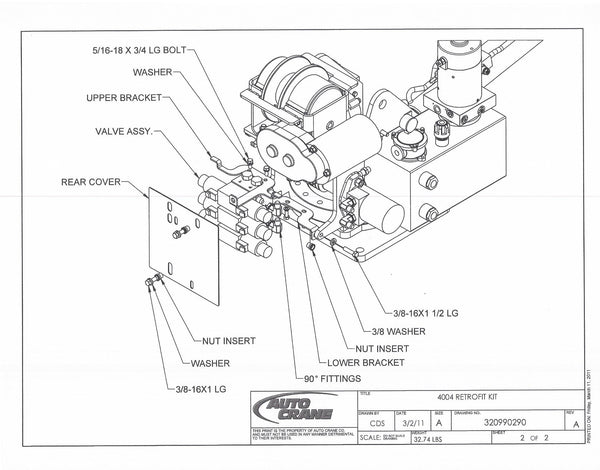 Auto Crane 320990290 4004 RETROFIT KIT