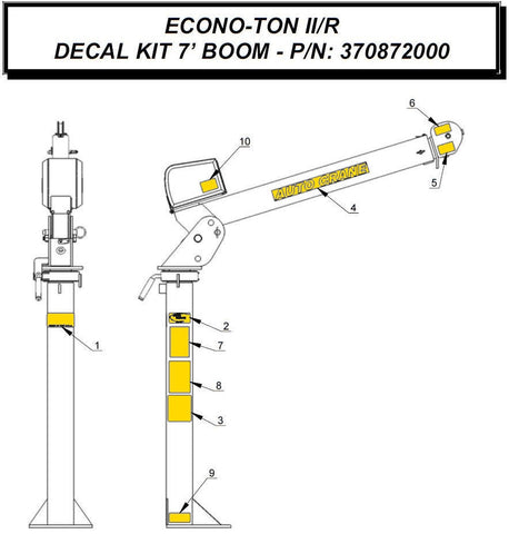 Auto Crane 370872000 DECAL KIT, ECONO-TON 7' BOOM - STD PEDESTAL