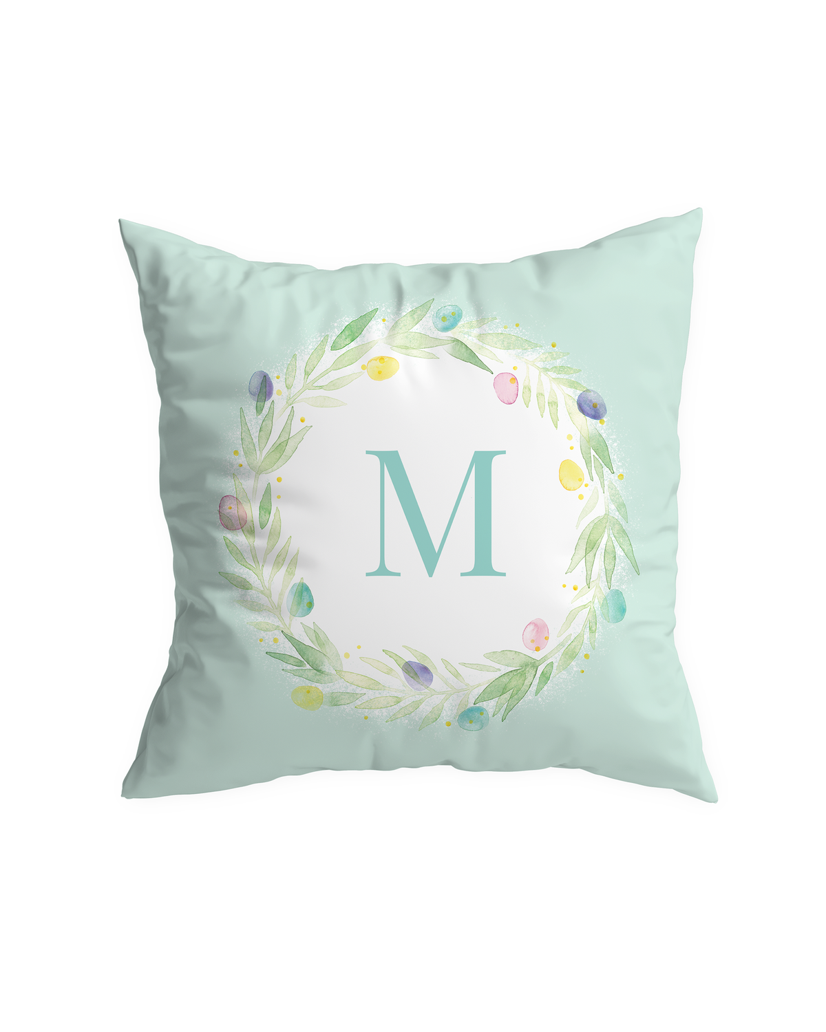 Easter Egg Wreath Pillow Cover with Monogram