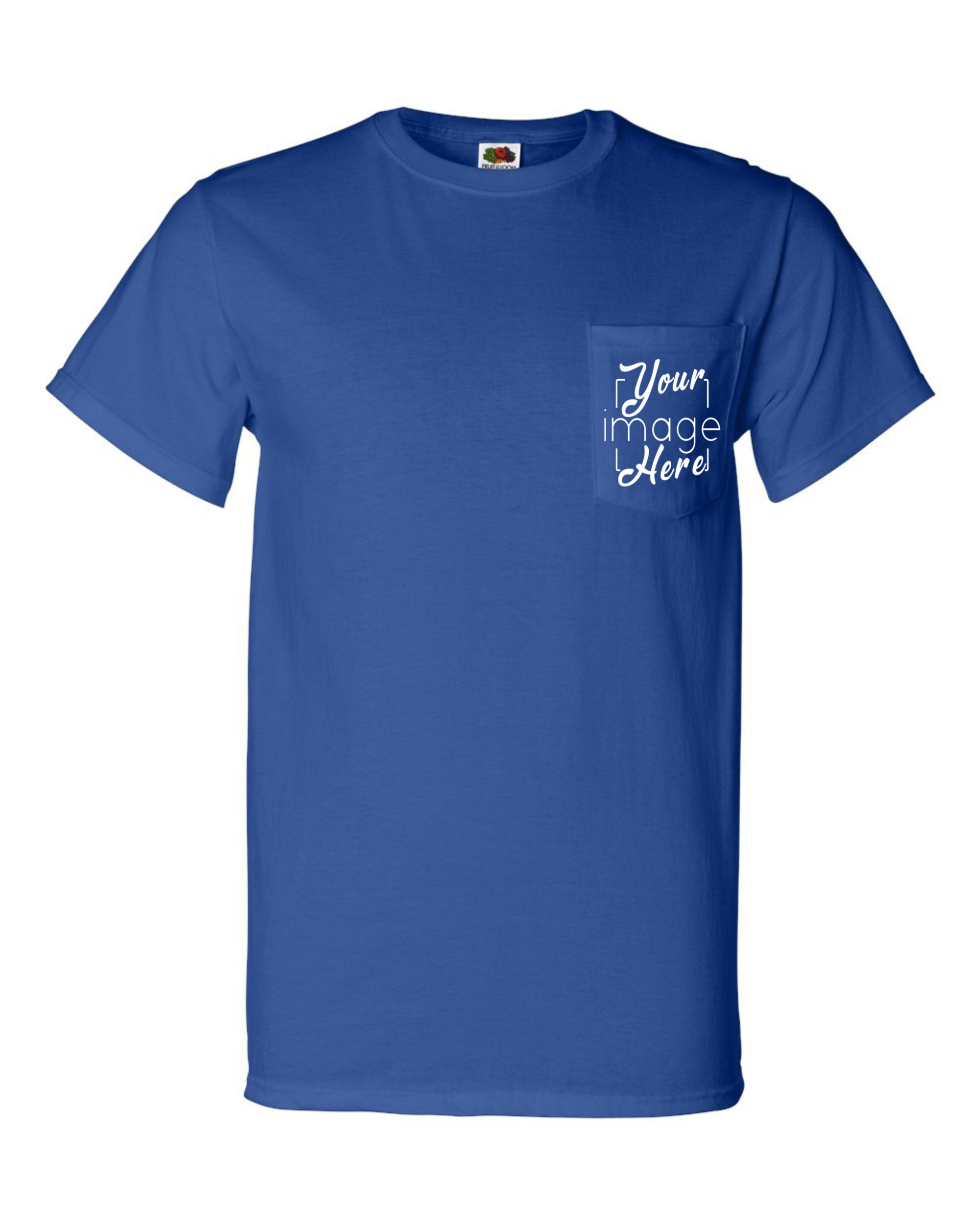 Front Image o Fruit of the Loom Pocket T-Shirt for Custom Printing
