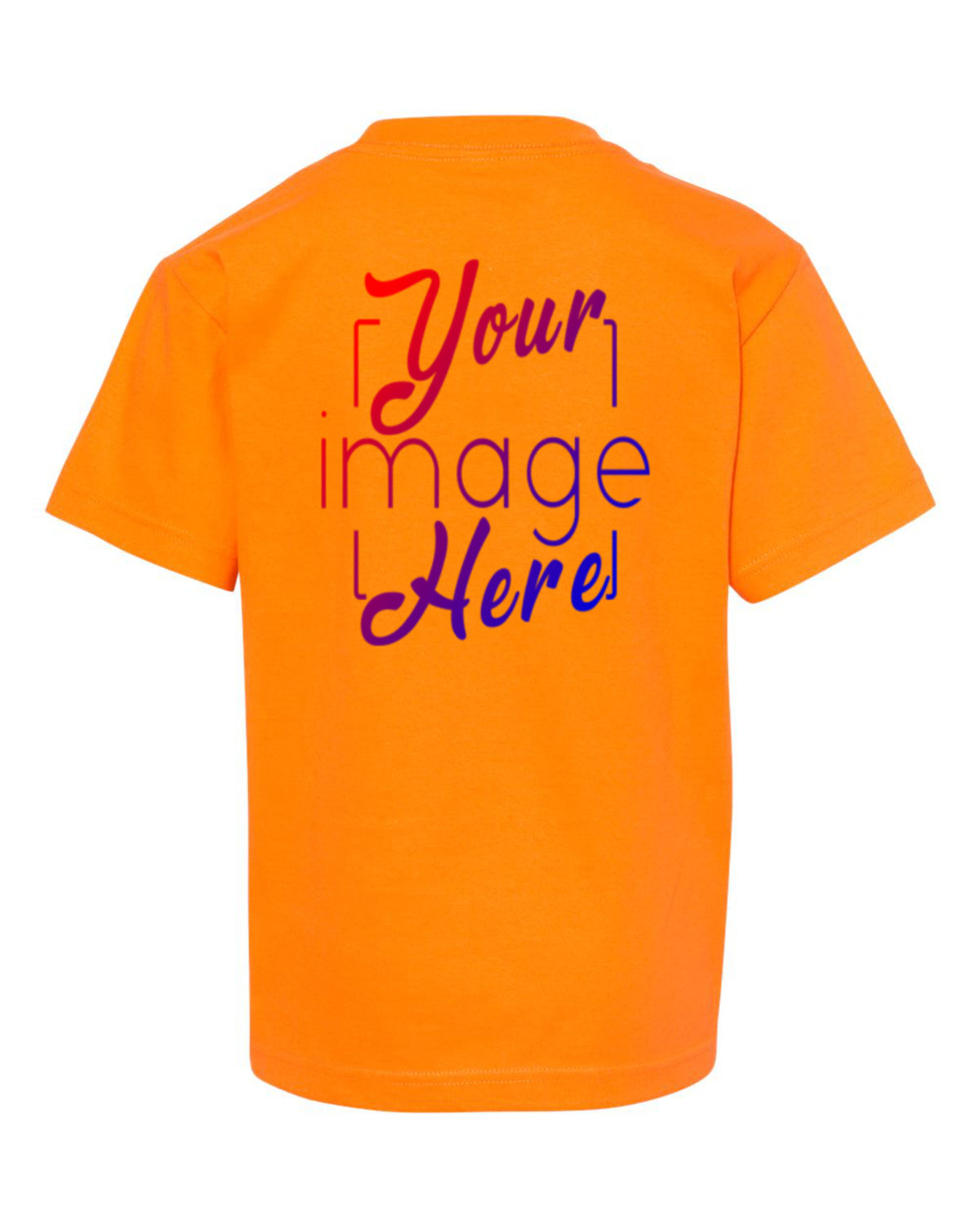 Back Image of a Youth Alstyle T-shirt in Orange for Custom Printing