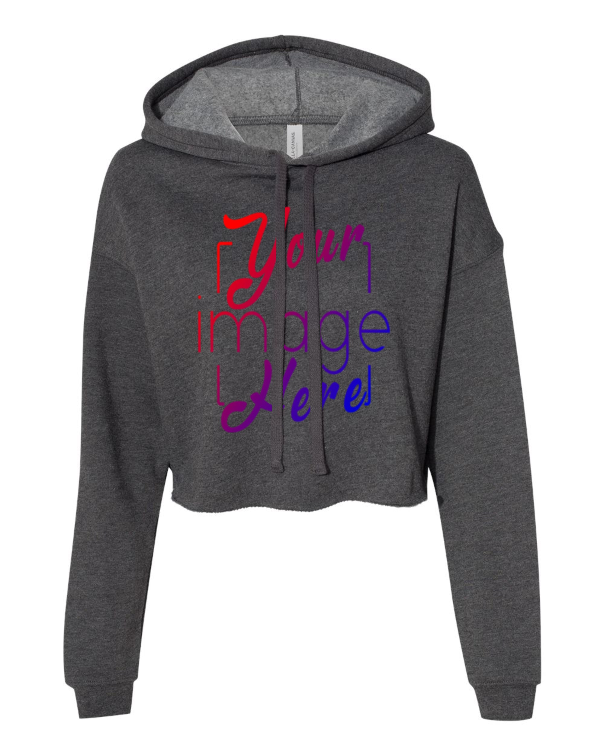 Front Image of a Woman's Cropped Hoodie in Dark Grey