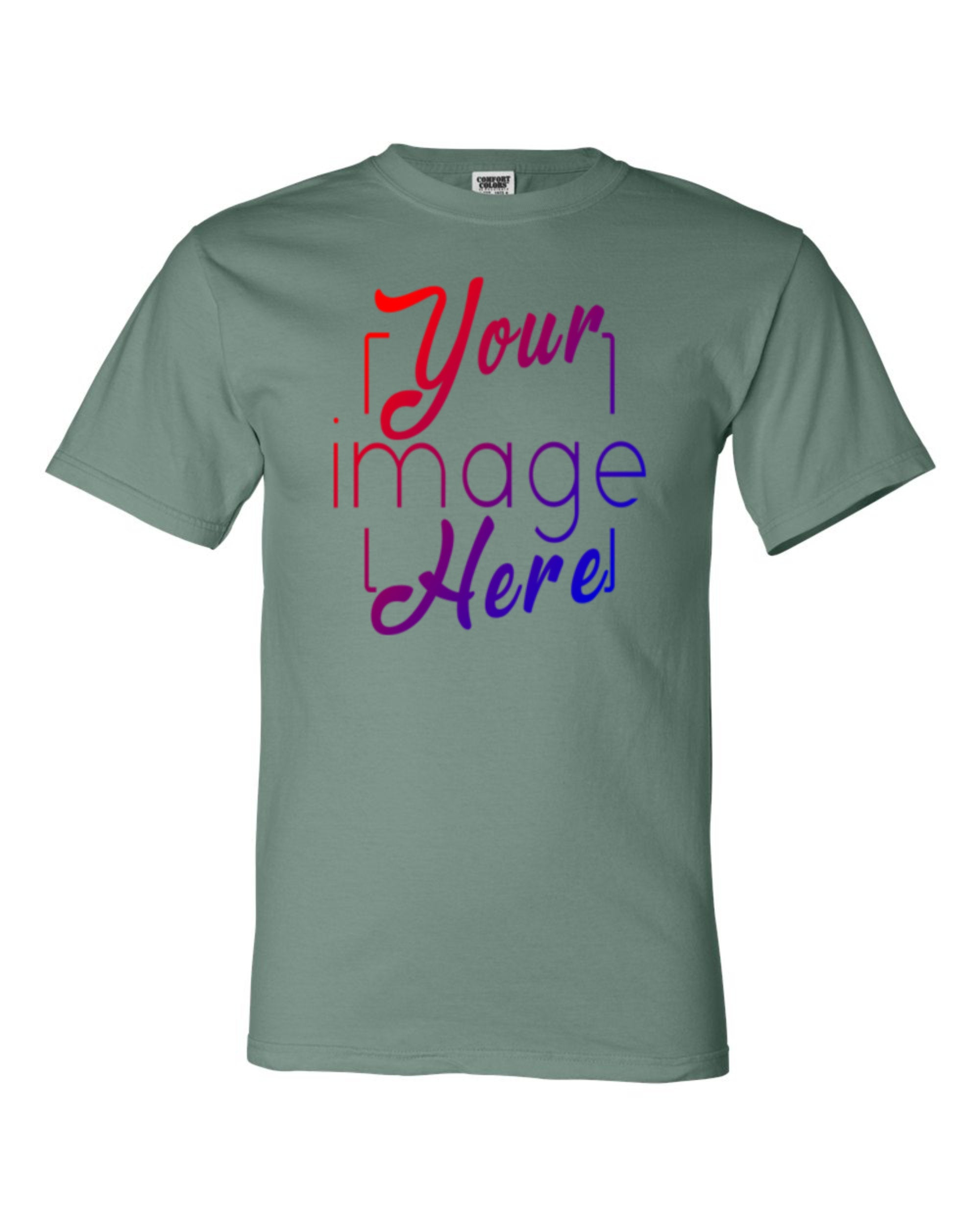 Front Image of Custom Print Area on a Comfort Colors Tshirt