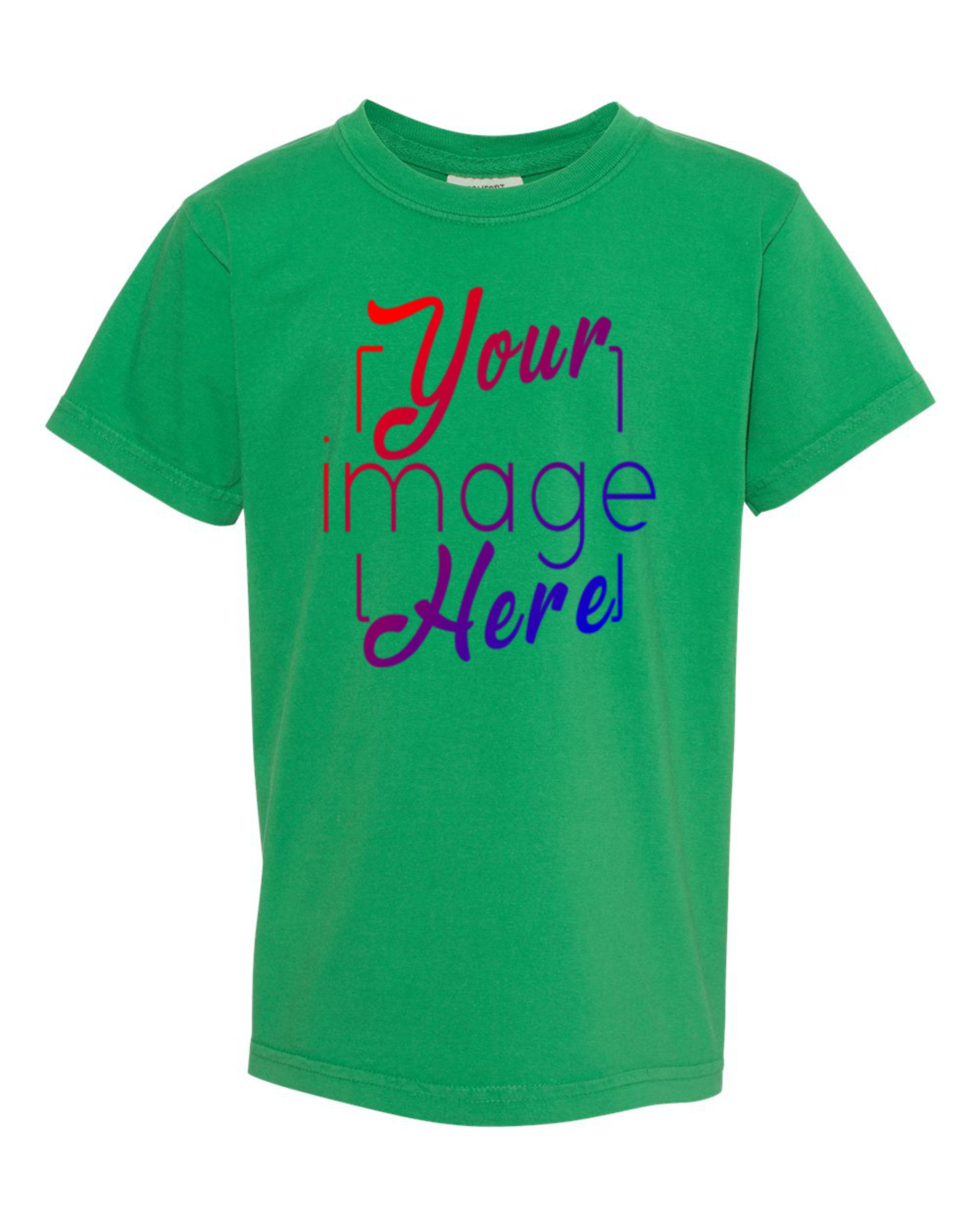 Flat Front Image of a Youth T-shirt Showing Custom Print Area