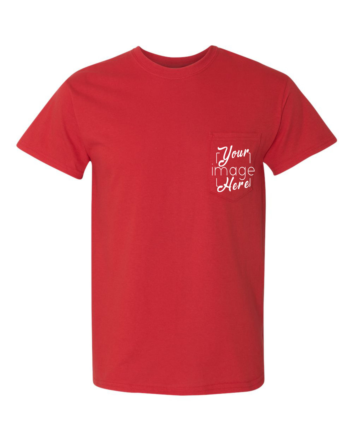 Front Image of a Pocket T-Shirt for Custom Printing