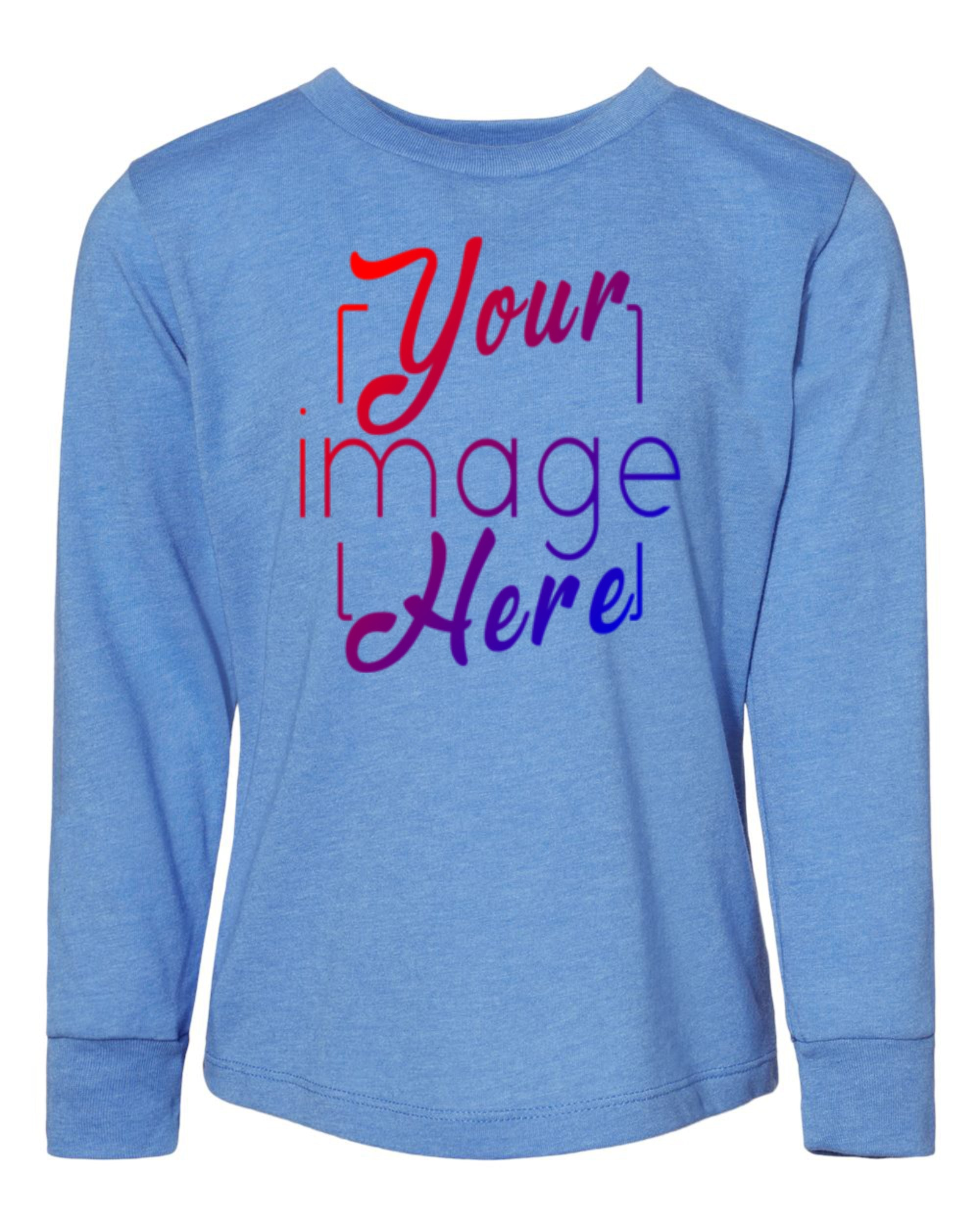 Front Image of Toddler Size Long Sleeve T-shirt for Custom Printing