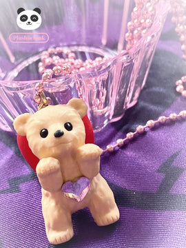 PlushiePink Kawaii Tiny Teds Red Bow Teddy Bear Necklace