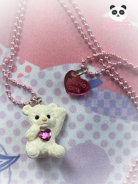 PlushiePink Kawaii Tiny Teds Paws Up Teddy Bear Necklace