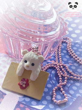 PlushiePink Kawaii Tiny Teds Sparkle Envelope Teddy Bear Necklace