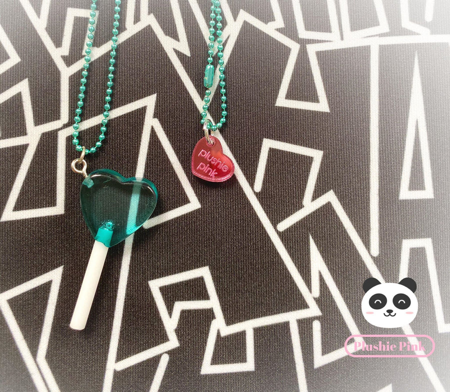 PlushiePink Kawaii Turquoise Blue Heart Lollipop Necklace