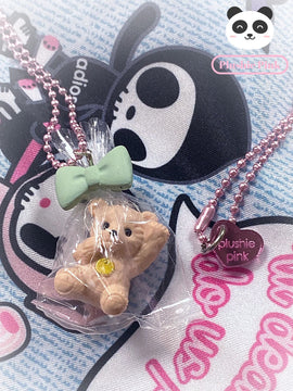 PlushiePink Kawaii Tiny Teds Bow Packet Teddy Bear Necklace