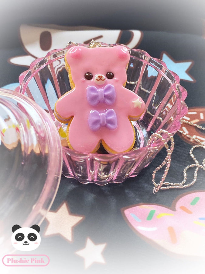 PlushiePink Kawaii Teddy Cookie Bear Pink Necklace