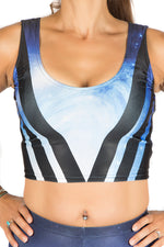 Galaxy Blue Space Vest Crop Top