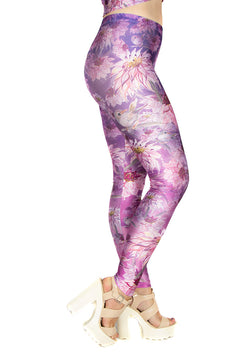 Claire Louise Purple Birdy Floral Leggings