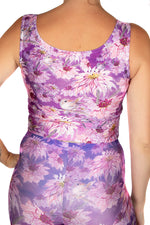 Claire Louise Purple Birdy Floral Crop Vest Top