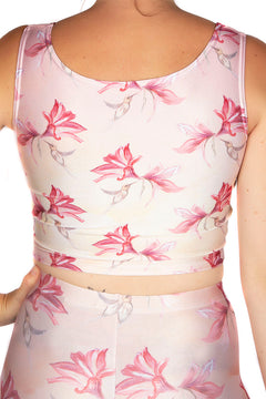 Claire Louise Peach Hummingbird Floral Crop Vest Top