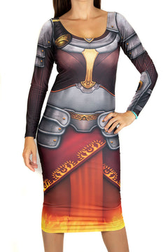 Magic The Gathering Chandra Bodycon Long Sleeved Dress