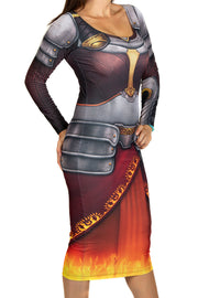Official Magic The Gathering Chandra Bodycon Long Sleeved Dress
