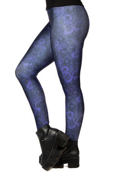 "Dungeons & Dragons ""Dice & Dragons"" Purple Leggings"