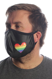 PRIDE Pixel Heart Face Mask