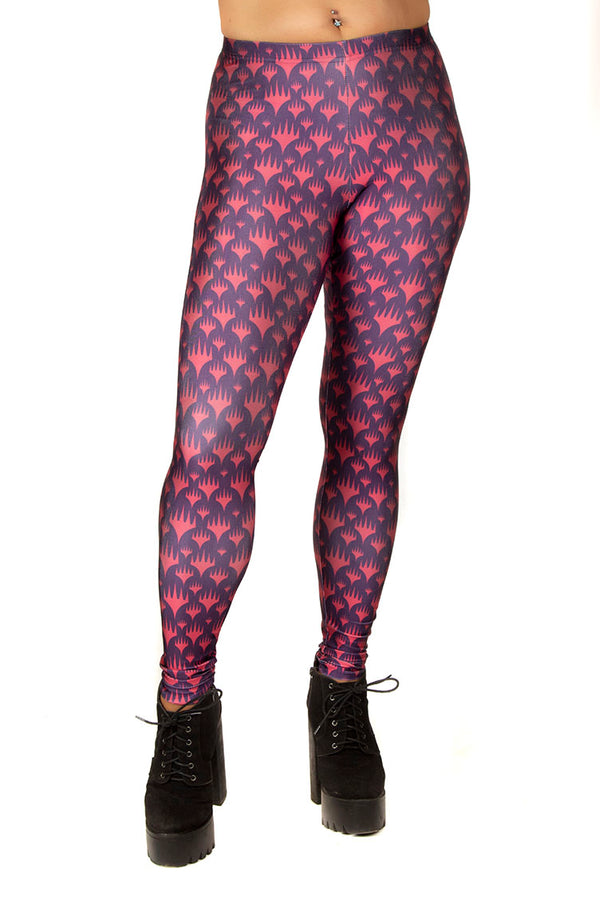 Magic The Gathering MTG Logo Red and Blue Leggings