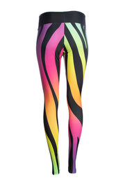 WILD BANGARANG Rainbow Zebra Print Fitness Wide Waisted Leggings & Snood Bundle