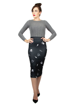 Tokidoki Cross The Bones Black Skull Pencil Skirt