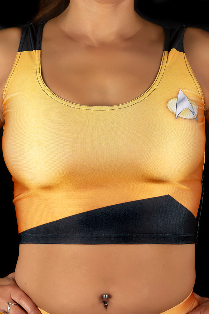 Star Trek The Next Generation Operations Yellow/Gold Vest Crop Top
