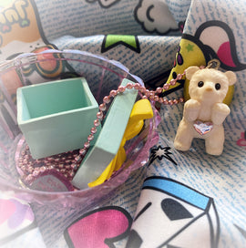 PlushiePink Kawaii Tiny Teds Gold Bow Teddy Bear Necklace