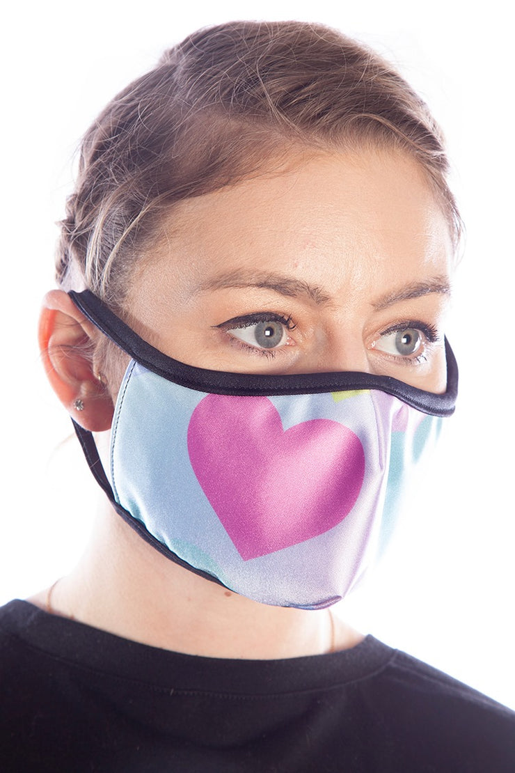 KAWAII Rainbow Hearts Face Mask