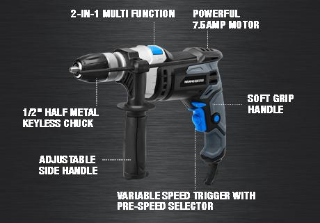 7.5-Amp 1/2 Inch Variable Speed Hammer Drill with Metal Bits and Concrete Bits