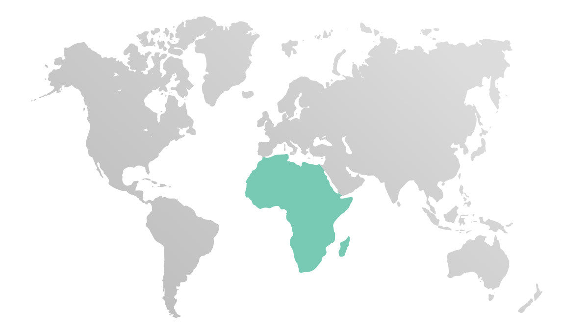 Map of World, highlighting Africa