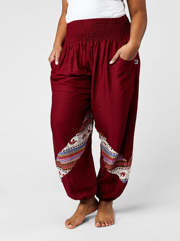 Hattie Burgundy Plus Size Two Tone Slant Harem Pants