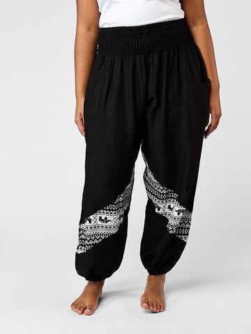 Hattie Black Plus Size Two Tone Slant Harem Pants