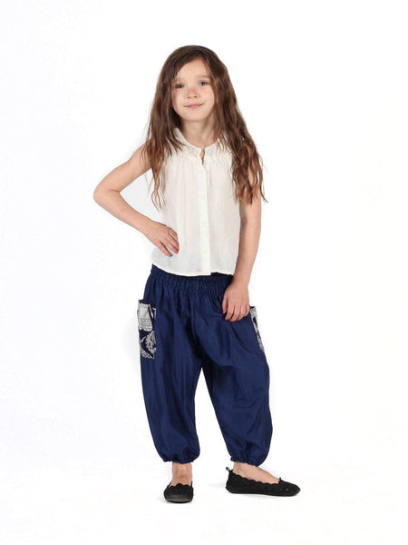 Kids Rombo Blue Harem Pants - The Elephant Pants - 2