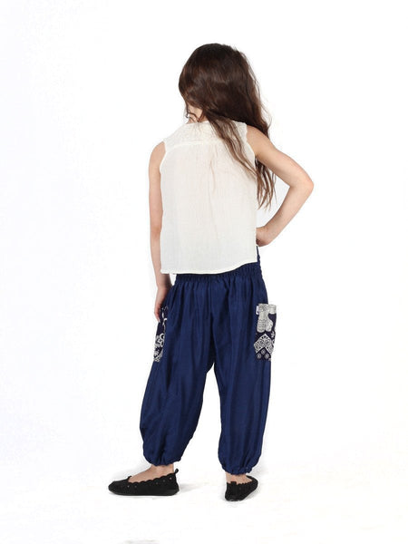 Kids Rombo Blue Harem Pants - The Elephant Pants - 4