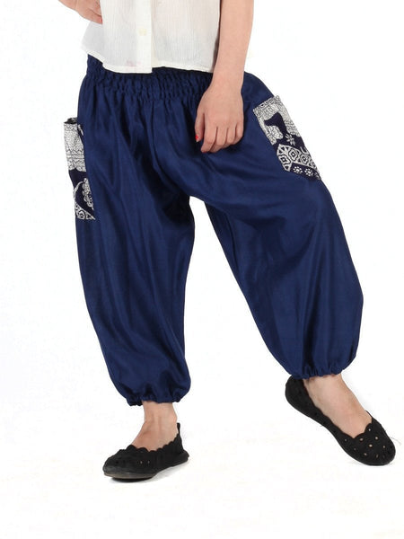 Kids Rombo Blue Harem Pants - The Elephant Pants - 1