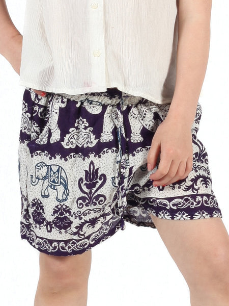Kids Surapa Purple Shorts - The Elephant Pants - 1