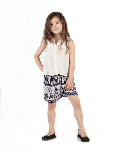 Kids Surapa Purple Shorts - The Elephant Pants - 2