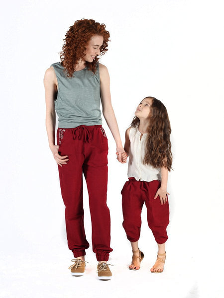 Kids Vita Burgundy Jogger Pants - The Elephant Pants - 5