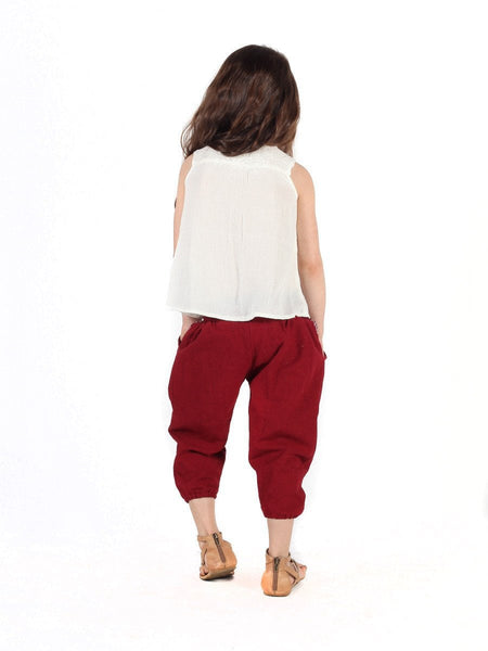 Kids Vita Burgundy Jogger Pants - The Elephant Pants - 4