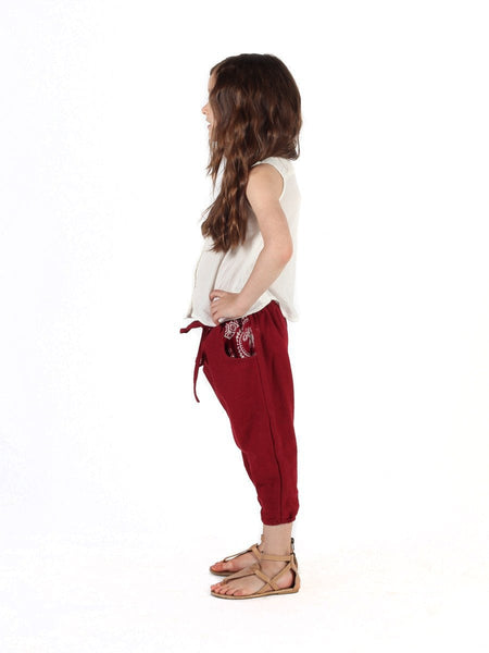 Kids Vita Burgundy Jogger Pants - The Elephant Pants - 3
