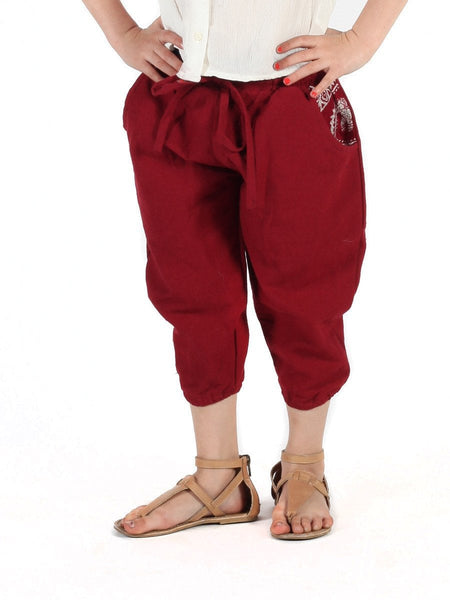 Kids Vita Burgundy Jogger Pants - The Elephant Pants - 1