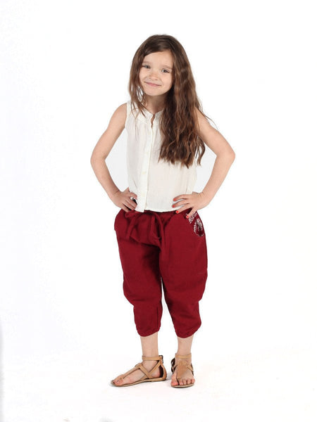 Kids Vita Burgundy Jogger Pants - The Elephant Pants - 2