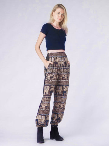 Lenana Navy Slim Cut Modern Harem Pants